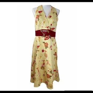 Yellow Floral Summer Backless Dress